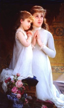 Girls Canvas - girls praying Academic realism girl Emile Munier