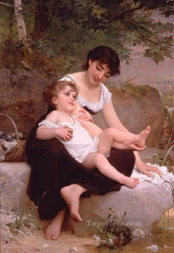 mother and child Academic realism girl Emile Munier Oil Paintings