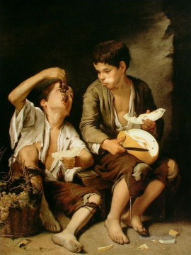 Boys Eating Fruit Grape and Melon Eaters Spanish Baroque Bartolome Esteban Murillo