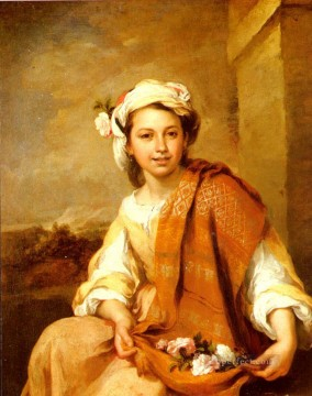 spanish spain Painting - The Flower Girl Spanish Baroque Bartolome Esteban Murillo