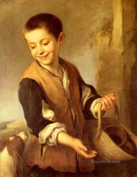 spanish spain Painting - Urchin With A Dog And Basket Spanish Baroque Bartolome Esteban Murillo