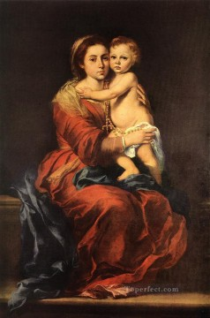 Virgin Painting - Virgin and Child with a Rosary Spanish Baroque Bartolome Esteban Murillo