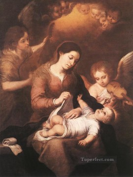 Angels Works - Mary and Child with Angels Playing Music Spanish Baroque Bartolome Esteban Murillo