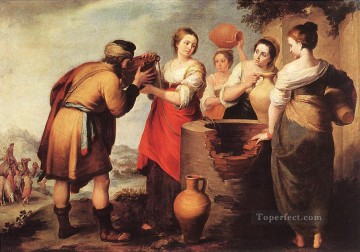 baroque Painting - Rebecca and Eliezer Spanish Baroque Bartolome Esteban Murillo