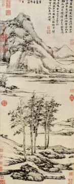 china - trees in a river valley in y shan 1371 old China ink