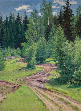 Nikolay Petrovich Bogdanov Belsky Painting - PATH THROUGH THE WOODS Nikolay Bogdanov Belsky