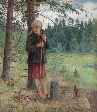 Nikolay Petrovich Bogdanov Belsky Painting - Girl in a Wood Nikolay Bogdanov Belsky