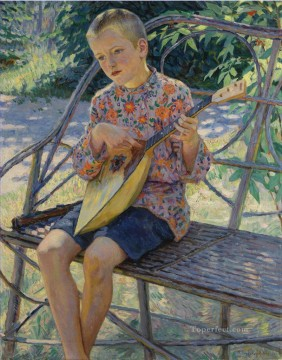 Nikolay Petrovich Bogdanov Belsky Painting - PORTRAIT OF ARTISTS SON KLAUS EKHARDT Nikolay Bogdanov Belsky