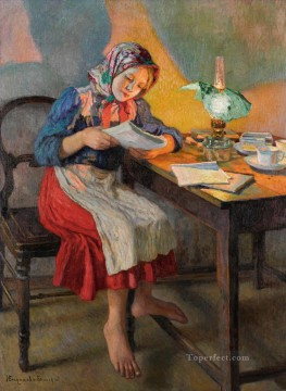 Nikolay Petrovich Bogdanov Belsky Painting - Reading by the Lamp Nikolay Bogdanov Belsky