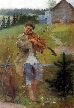 Nikolay Petrovich Bogdanov Belsky Painting - boy with violin Nikolay Bogdanov Belsky