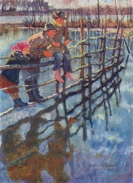 Nikolay Petrovich Bogdanov Belsky Painting - children on a fence Nikolay Bogdanov Belsky