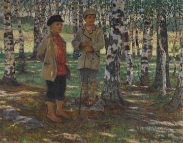 Nikolay Petrovich Bogdanov Belsky Painting - BOYS IN A BIRCH FOREST Nikolay Bogdanov Belsky
