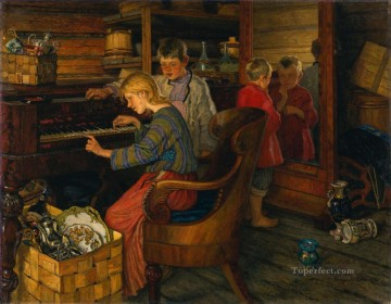 Nikolay Petrovich Bogdanov Belsky Painting - CHILDREN BY THE PIANO Nikolay Bogdanov Belsky