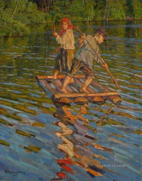 Nikolay Petrovich Bogdanov Belsky Painting - CHILDREN ON A RAFT Nikolay Bogdanov Belsky