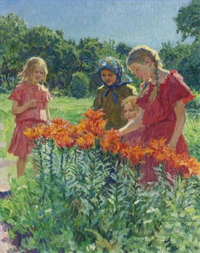 Nikolay Petrovich Bogdanov Belsky Painting - PICKING FLOWERS Nikolay Bogdanov Belsky