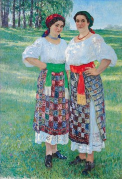 women Painting - two women in latgalian dress Nikolay Bogdanov Belsky
