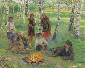 Nikolay Petrovich Bogdanov Belsky Painting - By the Campfire Nikolay Bogdanov Belsky
