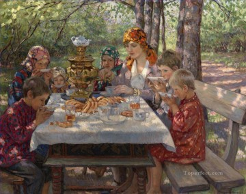 Nikolay Petrovich Bogdanov Belsky Painting - Teacher Visitors Nikolay Bogdanov Belsky