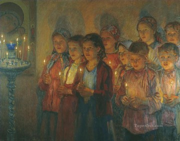 Nikolay Petrovich Bogdanov Belsky Painting - in the church Nikolay Bogdanov Belsky