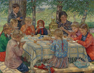 Nikolay Petrovich Bogdanov Belsky Painting - Teacher s Birthday Nikolay Bogdanov Belsky