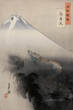 dragon Painting - dragon rising to the heavens 1897 Ogata Gekko Ukiyo e