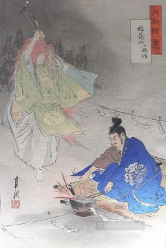 Blacksmith Painting - blacksmith munechika helped by a fox spirit forging the blade little fox 1873 Ogata Gekko Ukiyo e