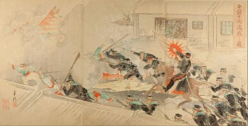 picture of severe battle on the streets of gyuso 1895 Ogata Gekko Ukiyo e Oil Paintings
