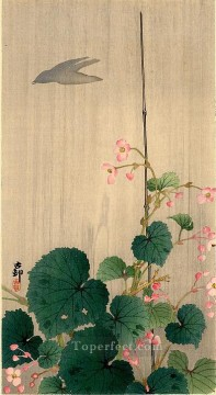 hanga Deco Art - bird and begonias Ohara Koson Shin hanga