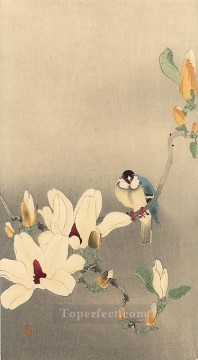 blue bird and magnolia Ohara Koson Shin hanga Oil Paintings