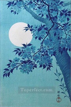 hanga Deco Art - cherry on a moonlit night 1932 Ohara Koson Shin hanga
