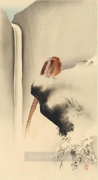 on - copper pheasant in snow Ohara Koson Shin hanga