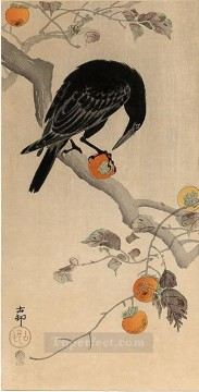 row - crow eating a persimmon Ohara Koson Shin hanga
