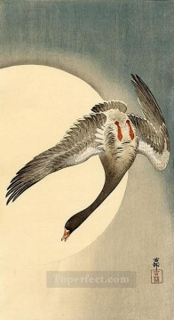 moon Painting - flying white fronted goose seen from underneath in front of the moon Ohara Koson Shin hanga