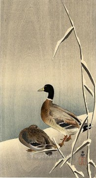 mallards in snow Ohara Koson Shin hanga Oil Paintings