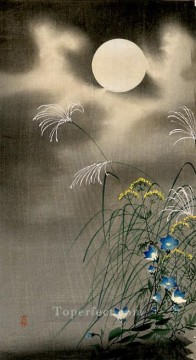 hanga Deco Art - moon and blue flowers Ohara Koson Shin hanga