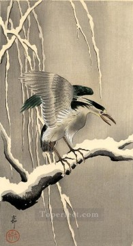 hero beijing opera jacky chen Painting - night heron on a snowy branch Ohara Koson Shin hanga