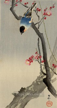 hanga Deco Art - bullfinch on flowering plum Ohara Koson Shin hanga
