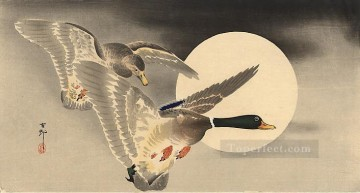 on - geese in flight before a full moon Ohara Koson Shin hanga