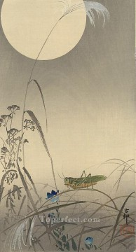 hanga Deco Art - grasshoper and fool moon Ohara Koson Shin hanga