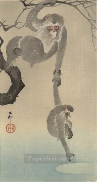 monkey with her child Ohara Koson Shin hanga Oil Paintings