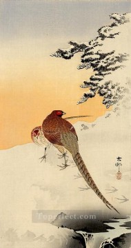 pheasants on the snow Ohara Koson Shin hanga Oil Paintings