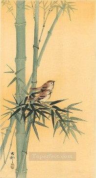 hanga Deco Art - sparrows on bamboo tree Ohara Koson Shin hanga