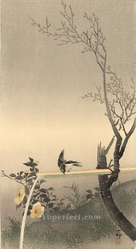 stonechat Ohara Koson Shin hanga Oil Paintings
