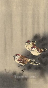 on - three tree sparrows in a rain shower Ohara Koson Shin hanga