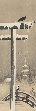 on - torii and crow in the snow Ohara Koson Shin hanga