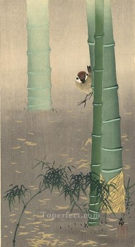 row - tree sparrow and bamboo Ohara Koson Shin hanga