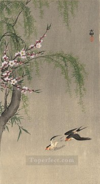 two Art - two barn swallows in flight willow branch and flowering cherry above Ohara Koson Shin hanga