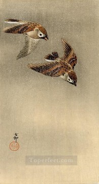 two sparrows in flight Ohara Koson Shin hanga Oil Paintings