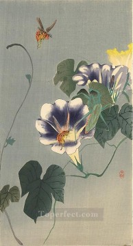 on - wasps and praying mantis Ohara Koson Shin hanga