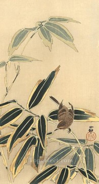 on - wheatear and bamboo Ohara Koson Shin hanga